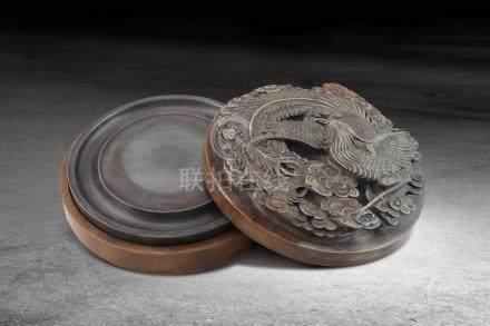 清 松花硯配綠端雕鳳紋盒