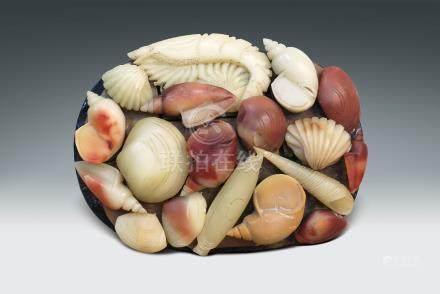 60年代 壽山石雕海產擺件