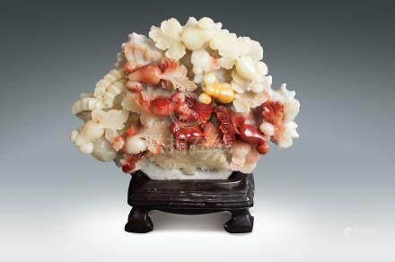 60年代 芙蓉石雕年年有餘擺件