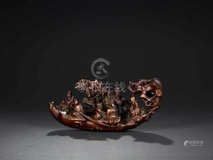 AN 18TH CENTURY BAMBOO-ROOT LOG RAFT CARVING WITH IMMORTALS Bamboo root China, 18th century This