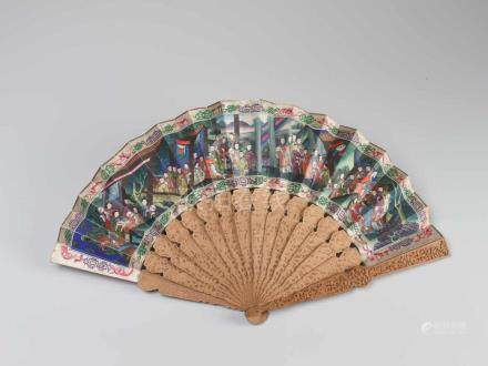 A FINELY HAND PAINTED AND INLAID CANTON SCHOOL FAN IN ORIGINAL LACQUER BOXHand carved wood, hand
