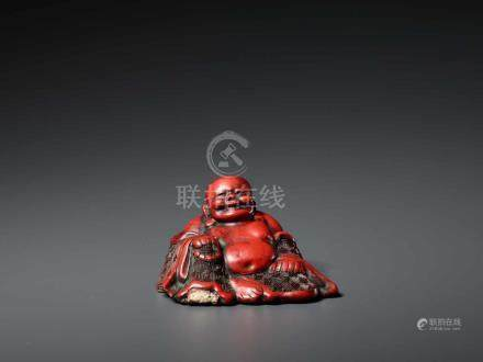 A CINNABAR LACQUER BUDAI, QING DYNASTY, POSSIBLY BY LU GUISHENGThe ceramic statue entirely covered