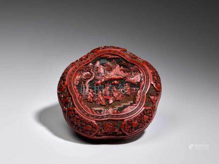 A VERY RARE CARVED THREE-COLOR LACQUER LOBED BOX AND COVER, QIANLONG Carved lacquer in high relief
