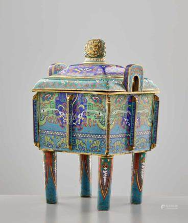 A CLOISONNÉ ENAMEL CENSER AND COVER, FANGDING, QING DYNASTYThe massively cast bronze vessel with