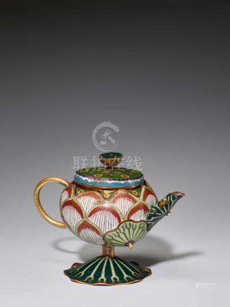 A EXTREMELY RARE CLOISONNE ENAMEL LOTUS-LEAF FORM EWER, 18TH CENTURYFire gilt and incised bronze,
