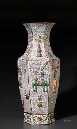 A LARGE MOLDED CLOISONNE FLOOR VASE WITH LITERATI TREASURES, QING DYNASTY Cloisonné enamel on