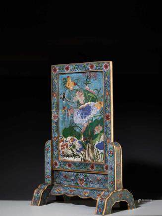 A CLOISONNE 'LOTUS' TABLE SCREEN AND STAND Cloisonné enamel on gilt bronze bodyChina, late Qing
