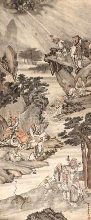 WANG SU (1794 – 1877), LARGE SCROLL PAINTING 'EIGHTEEN LUOHAN'Wang Su (artist name Xiaomou) – well