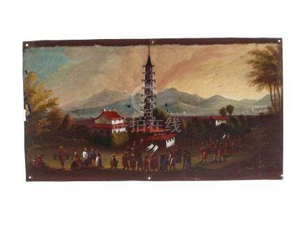 AN EARLY CHINESE SCHOOL OIL ON TIN PAINTING 'PAZHOU PAGODA AT WHAMPOA'Oil on tin China, 18th century
