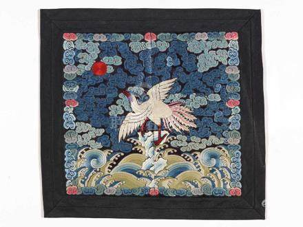 A FINELY EMROIDERED CIVIL RANK BADGE WITH PHEASANT, QING DYNASTYSilk with multi-colored silk
