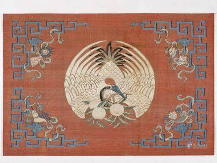 A KESI SILK WALL PANEL WITH MANCHURIAN CRANE, QINGSilk with Kesi weaving, silk and gold