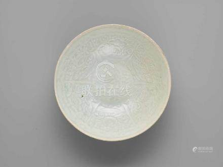 A MOLDED QINGBAI BOWL, SOUTHERN SONG DYNASTYCovered inside and out with a light bluish glaze that