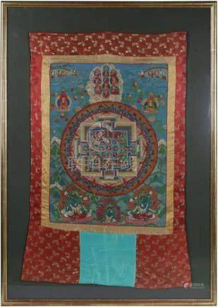 Mandala-ThangkaTibet, 19./20. Jh. 70 x 52 cm. Mandala in schönem Kolorit, Brokatmontierung, unter
