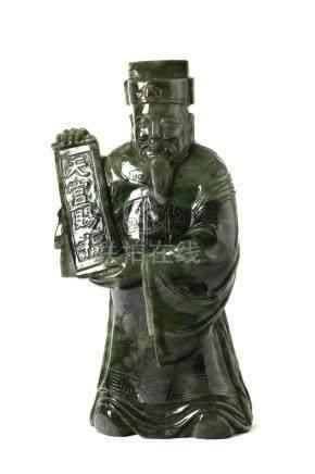 Chinesische JadefigurChina, 20. Jh., Spinat-Jade, Höhe 48 cm, Gewicht 22,5 kg. Provenienz: -