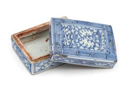 Tintendose rechteckigChina, 19.Jh., Porzellan, B 10, H 4 cm. Rechteckige Tintendose weiss blau