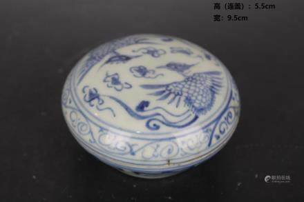 Ming Blue and White Double Phoenix Print Box