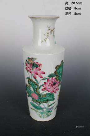 Qing Qian Long Pastel Flowers and Birds Stick Bottle