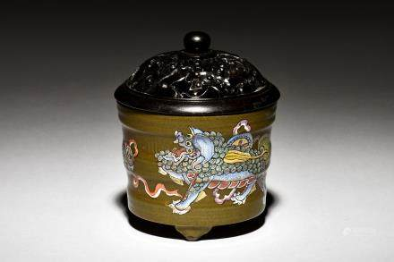 TEA DUST GLAZED JAR WITH CARVED WOODEN COVER