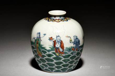 DOUCAI WARE 'EIGHT IMMORTALS' SMALL JAR