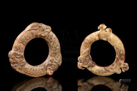 TWO JADE CARVED DISC ORNAMENTS, HUAN