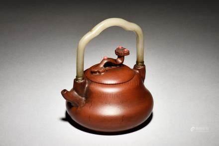 WU YUNSONG: YIXING ZISHA TEAPOT WITH JADE HANDLE