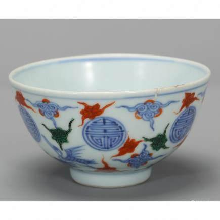 CHINESE BLUE WHITE WUCAI PORCELAIN BOWL