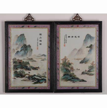 CHINESE PORCELAIN WALL PANELS, PAIR