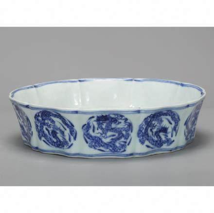 CHINESE BLUE WHITE PORCELAIN BRUSH WASHER