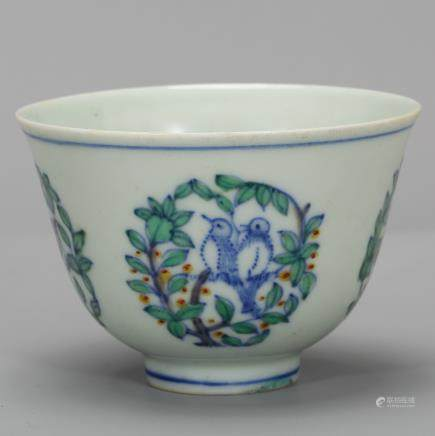 CHINESE BLUE WHITE DOUCAI PORCELAIN CUP