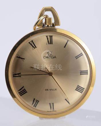 """""""Omega de Ville"""" montre de poche plaquée or"""