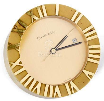 Tiffany & co, pendulette en métal doré