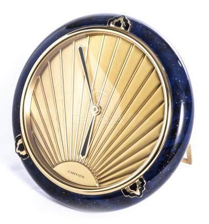 Cartier, Must de; pendulette Lapis-lazuli de style Art déco 1980