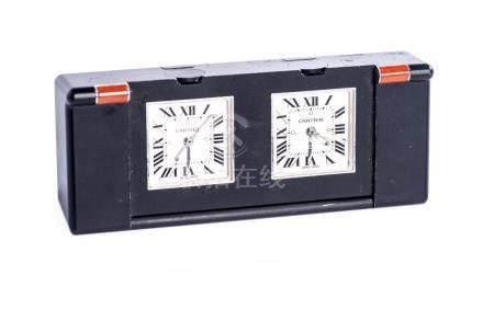 Cartier, pendulette de voyage à double fuseaux horaires