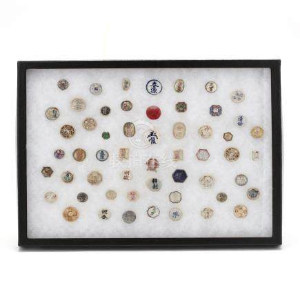 Collection of 55 Colorful Siamese Porcelain Pee Gambling Tokens