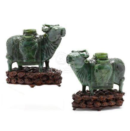 A Pair of Chinese Spinach Green Hardstone Water Buffalos