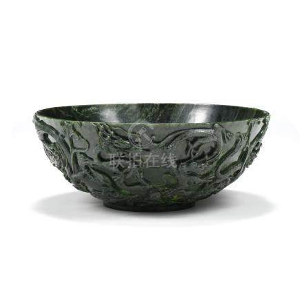 A Monumental Chinese Carved Hardstone Bowl