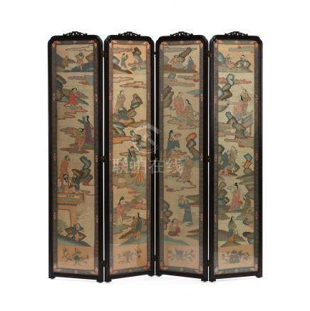 A Chinese Four Panel Wooden Screen with Kesi Panels