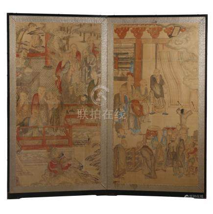 An Unusual Japanese Two Panel Folding Screen