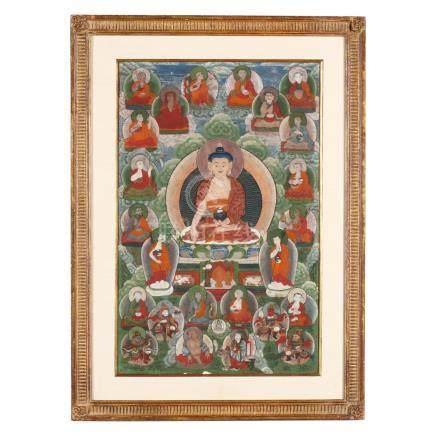 A Tibetan Thangka of Shakyamuni Buddha