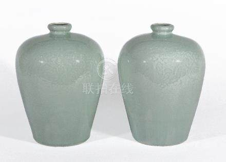 A pair of Chinese celadon vases