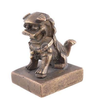 A small Chinese bronze Buddhist Lion seal