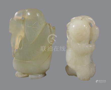 A Chinese white jade carving of a boy