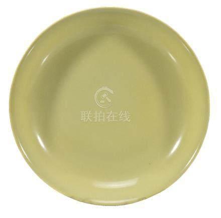 A Chinese yellow-ground saucer dish