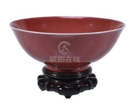 A Chinese copper-red glazed bowl