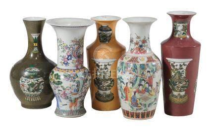 A group of five various Chinese vases