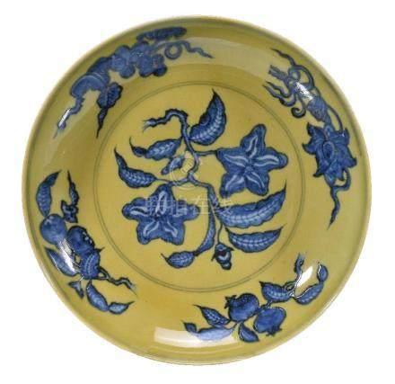 A Chinese underglaze-blue and yellow 'Gardenia' dish