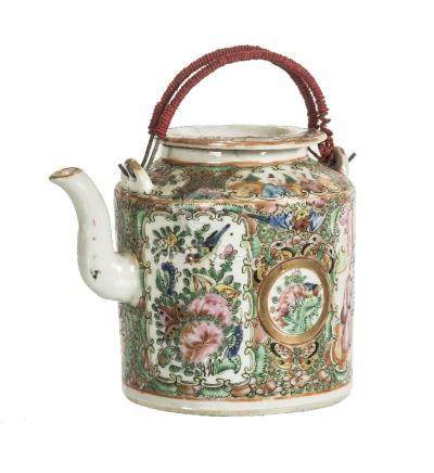 A Cantonese Famille Rose teapot and cover