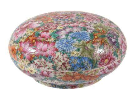 A Chinese Famille Rose Mille Fleurs box and cover