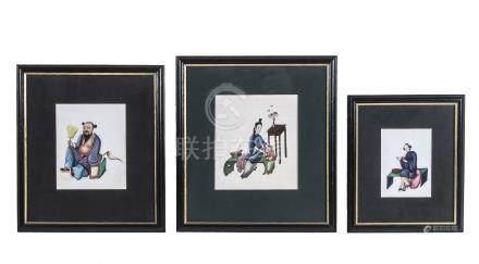 Nine Chinese gouache paintings