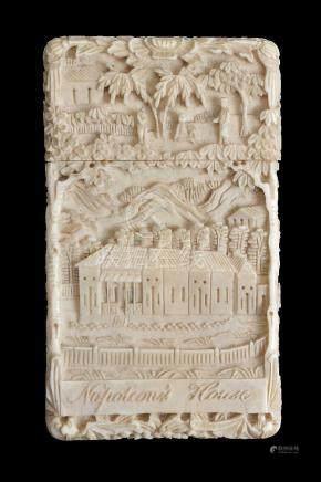 ϒ A Chinese Export carved ivory 'Napoleon' card case